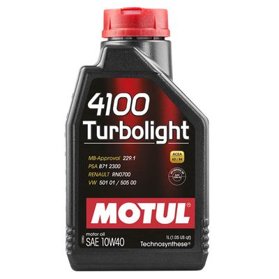 Масло моторное 10W40 MOTUL 1л полусинтетика 4100 Turbolight MB/Renault/VW A3/B4