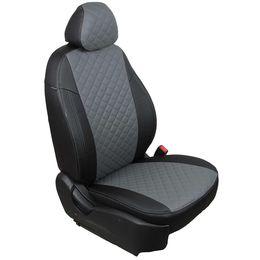Авточехлы AUDI A3 8V 2013- SEDAN, HATCHBACK, экокожа, вставка ромб, чёрный/серый