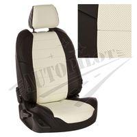 Чехлы на сиденья для  RENAULT KANGOO II 2008- 5 мест пассажирская спинка простая, Экокожа Чёрный + Белый