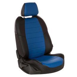 Авточехлы AUDI A1 2010- HATCHBACK 5 дверей, Экокожа, чёрный/синий