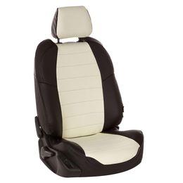Авточехлы AUDI A1 2010- HATCHBACK 5 дверей, экокожа, чёрный/белый
