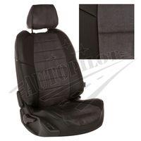 Чехлы на сиденья для  RENAULT KANGOO II 2008- 5 мест пассажирская спинка простая, Алькантара Чёрный + Тёмно-серый