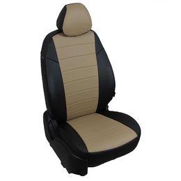Авточехлы AUDI A1 2010- HATCHBACK 5 дверей, экокожа, чёрный/тёмно-бежевый