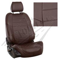 Авточехлы RENAULT SANDERO II 2014- с подушками безопасности, экокожа, шоколад/шоколад