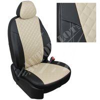 Авточехлы SKODA OCTAVIA A7 2013- HATCHBACK, WAGON пердние кресла Sport, экокожа, вставка ромб, чёрный/бежевый