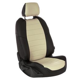Авточехлы AUDI A1 2010- HATCHBACK 5 дверей, Экокожа, чёрный/бежевый