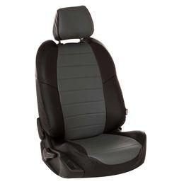 Авточехлы AUDI A3 8V 2013- SEDAN, HATCHBACK, экокожа, чёрный/серый