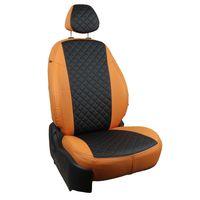 Авточехлы для SSANGYONG ACTYON II 2010-, экокожа, вставка ромб, оранжевый/чёрный