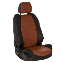 Авточехлы AUDI A1 2010- HATCHBACK 5 дверей, экокожа, чёрный/коричневый