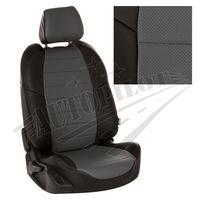 Авточехлы для SKODA YETI 2013- пассажирская спинка трансформер, экокожа, чёрный/серый