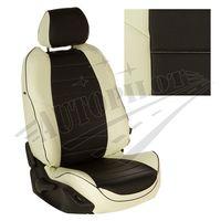 Авточехлы TOYOTA PRIUS III 2009-, экокожа, белый/чёрный
