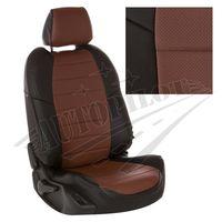Авточехлы для VOLKSWAGEN GOLF VII 2013- HATCHBACK, экокожа, чёрный/тёмно-коричневый
