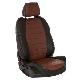 Авточехлы AUDI A1 2010- HATCHBACK 5 дверей, экокожа, чёрный/тёмно-коричневый