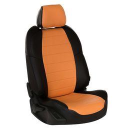 Авточехлы для AUDI A5 2007- COUPE 2 двери, экокожа, чёрный/оранжевый