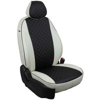 Авточехлы SKODA OCTAVIA A7 2013- HATCHBACK, WAGON Elegance, с подлокотником, экокожа, вставка ромб, белый/чёрный