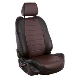 Авточехлы AUDI A1 2010- HATCHBACK 5 дверей, Экокожа, чёрный/шоколад