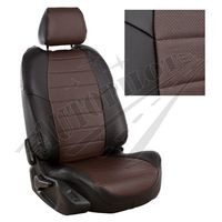 Авточехлы AUDI Q3 2011-, экокожа, чёрный/шоколад
