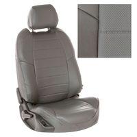 Авточехлы для RENAULT SANDERO II 2014- с подушками безопасности, экокожа, серый/серый