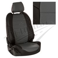 Авточехлы HONDA CIVIC IX 2012- SEDAN, экокожа, чёрный/серый