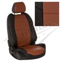 Авточехлы KIA SOUL II 2014-, экокожа, чёрный/коричневый