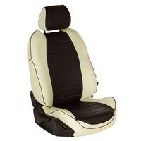 Авточехлы RENAULT SANDERO II 2014- с подушками безопасности, экокожа, белый/чёрный