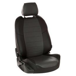 Авточехлы AUDI A1 2010- HATCHBACK 5 дверей, экокожа, чёрный/тёмно-серый