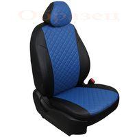 Чехлы на сиденья из экокожи для RENAULT LOGAN II 2014- 40/60, задняя спинка раздельная, вставка ромб, чёрный/синий