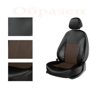Авточехлы KIA RIO IV 2011- SEDAN задняя спинка раздельная, чёрный/коричневый/коричневый