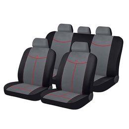 Чехлы на сиденья алькантара «ALCANTARA», чёрный/серый/красный, универсальные, 10559