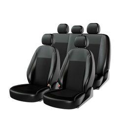 Чехлы на сиденья экокожа/жаккард «ATOM COMFORT», чёрный/чёрный/чёрный, универсальные, 10966