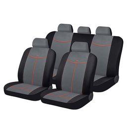 Чехлы на сиденья алькантара «ALCANTARA», чёрный/серый/оранжевый, универсальные, 10560