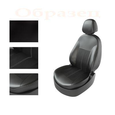 Авточехлы KIA RIO IV 2011- SEDAN TURBO, задняя спинка раздельная, чёрный/чёрный/серый