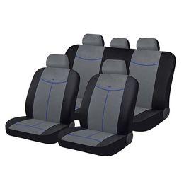 Чехлы на сиденья алькантара «ALCANTARA», чёрный/серый/синий, универсальные, 10557