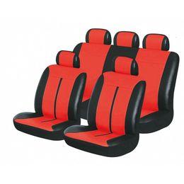 Чехлы на сиденья искусственная кожа «BUFFALO», чёрный/красный, универсальные, 10208