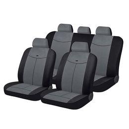Чехлы на сиденья алькантара «ALCANTARA», чёрный/серый/тёмно-серый, универсальные, 10558