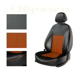 Авточехлы FORD FIESTA 2015- SEDAN, чёрный/оранжевый/оранжевый