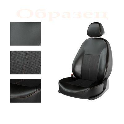 Авточехлы KIA RIO IV 2011- SEDAN задняя спинка раздельная, чёрный/чёрный/коричневый