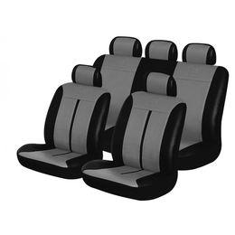 Чехлы на сиденья искусственная кожа «BUFFALO», чёрный/тёмно-серый, универсальные, 10041