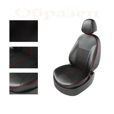 Авточехлы KIA RIO IV 2011- SEDAN задняя спинка раздельная, чёрный/чёрный/красный