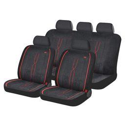 Чехлы на сиденья алькантара «LEADER» , чёрный/красный, универсальные, 10409