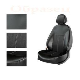 Авточехлы NISSAN ALMERA 2013- задняя спинка сплошная, чёрный/чёрный/белый