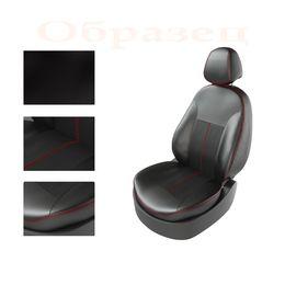 Авточехлы NISSAN ALMERA 2013- задняя спинка сплошная, чёрный/чёрный/красный