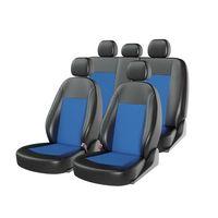 Чехлы на автомобильные сиденья ATOM JACQUARD комплект, экокожа/жаккард, чёрный, синий, синий
