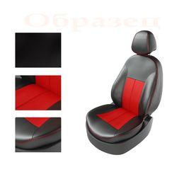 Авточехлы NISSAN ALMERA 2013- задняя спинка раздельная, чёрный/красный/красный