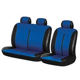 Чехлы на сиденья искусственная кожа «BUFFALO VAN», чёрный/синий, универсальные, 10494