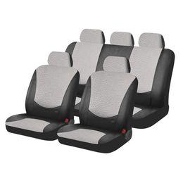 Чехлы на сиденья искусственная кожа «EXOTIC», чёрный/светло-серый, универсальные, 10417