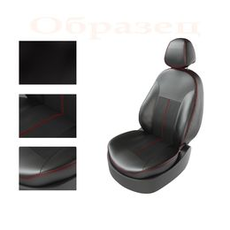 Авточехлы KIA RIO IV 2011- SEDAN R, задняя спинка раздельная, чёрный/чёрный/красный