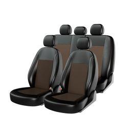 Чехлы на сиденья экокожа «ATOM LEATHER», чёрный/коричневый /коричневый , универсальные, 10945