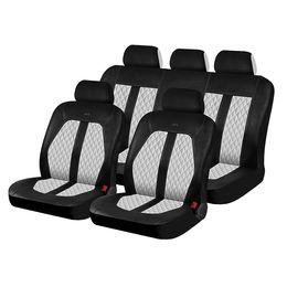 Чехлы на сиденья искусственная кожа «LAREDO», чёрный/белый/белый, универсальные, 10445