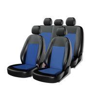 Чехлы на автомобильные сиденья ATOM LEATHER комплект, экокожа, чёрный, синий, синий